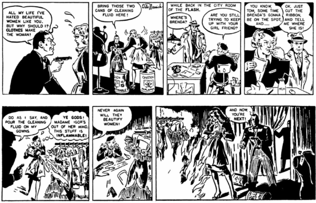 Dagsstrippar från 7-8 december 1945, med upptakten till att Basil St. John inträder i serien. ©CT/NYNS