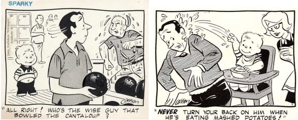 Ett par skämtteckningar med Sparky. ©Publishers
