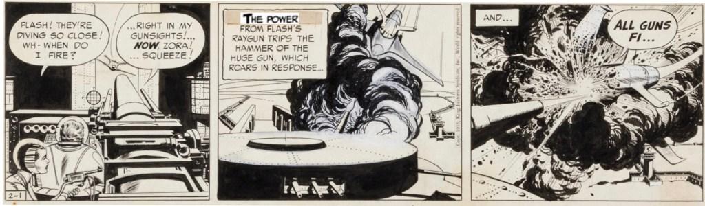 En dagsstripp med Flash Gordon från 1 februari 1955, osignerad varför den skulle kunna vara spöktecknad av Starr. ©KFS
