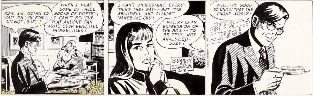 Original till dagsstrippen från 18 februari 1972, som Comics hoppade över ovan. ©Field