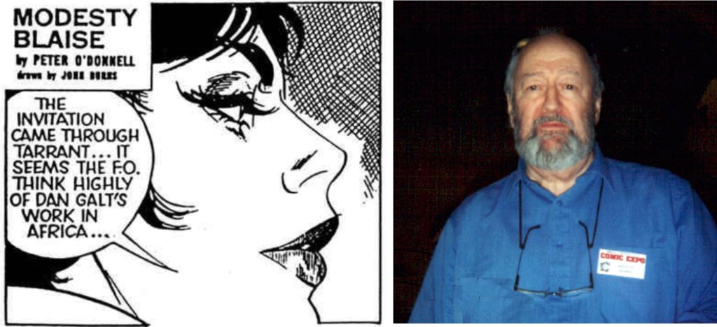 Serietecknaren John Burns, och hans version av Modesty Blaise.
