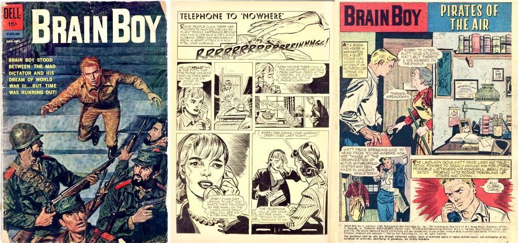 Omslag och första uppslag ur Brain Boy #2, med Frank Springer som tecknare av inlagan (Vic Prezio gjorde omslaget). ©Dell
