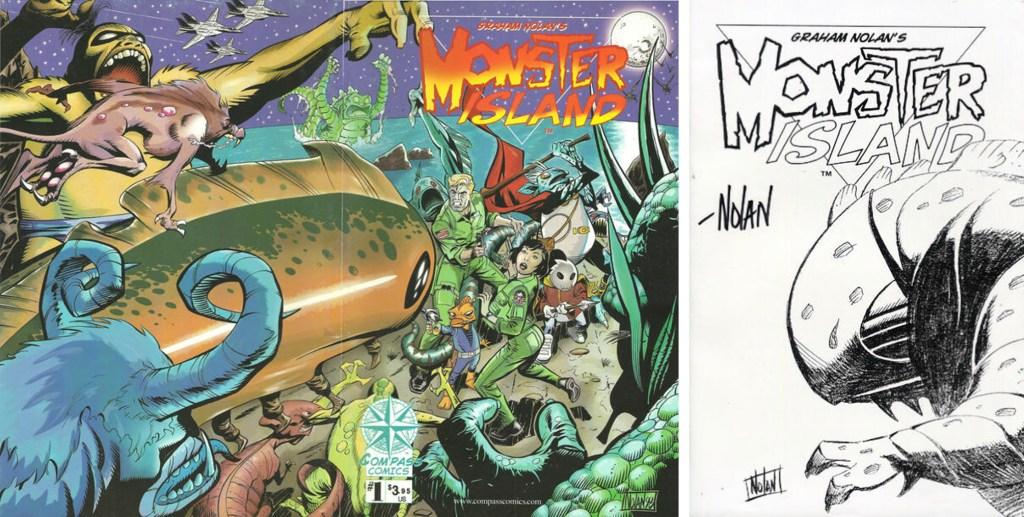 Omslagets bak- och framsida, och försättsblad till Monster Island (1998). ©Compass