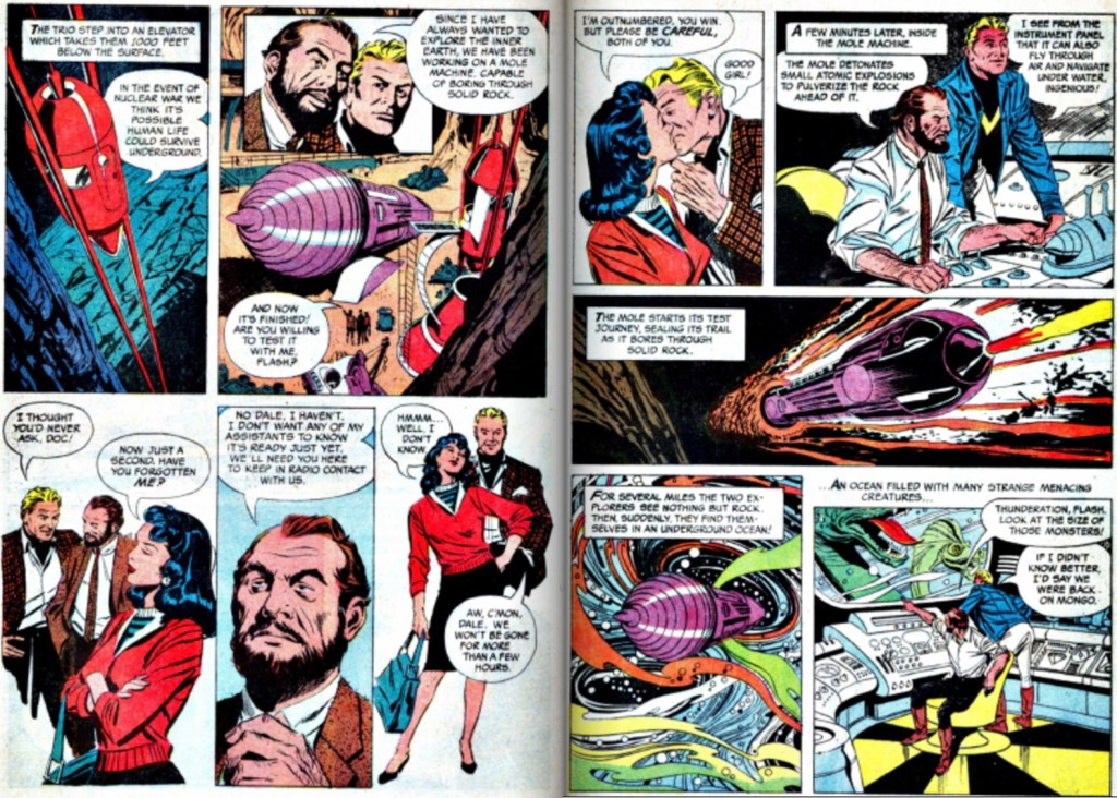 Motsvarande uppslag i original ur Flash Gordon #1, 1966. ©KFS
