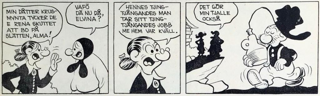 En dagsstripp med Tjalle Tvärvigg av Fred Lasswell, ur Comics nr 5 (1973). ©Bulls