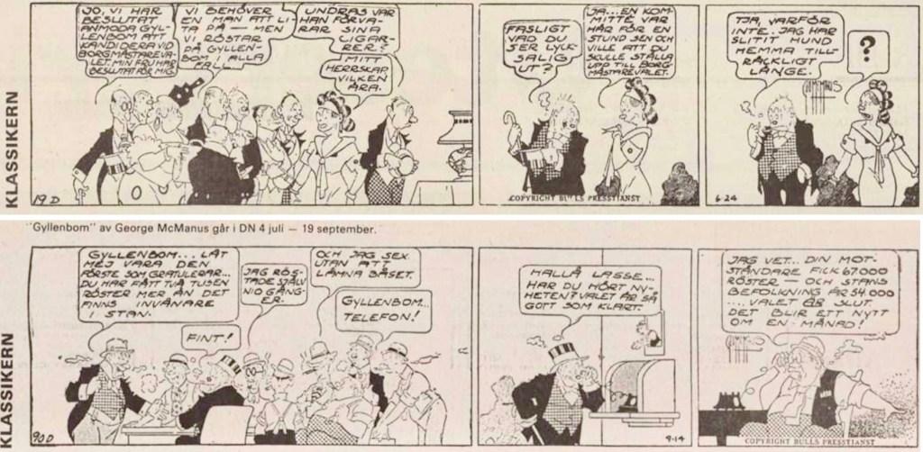 Första och sista strippen i DNs publicering av serien, ursprungligen från 27 juni till 14 september. ©Bulls
