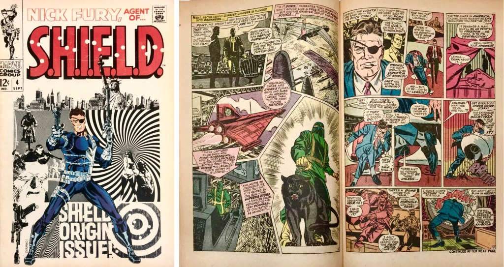 Omslag av Jim Steranko och ett uppslag av Springer ur Nick Fury, Agent of SHIELD #4 (1968). ©Marvel