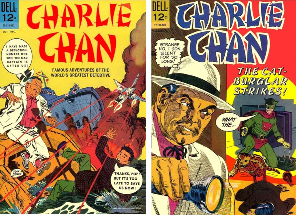 Omslag till de två nummer med Charlie Chan som utkom i mitten av 60-talet. ©Dell