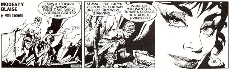 John Burns tecknade två strippar, 4768 och 4769, som inte användes i äventyret. Patrick Wright tecknade om dessa strippar (ovan), och det var hans som användes.