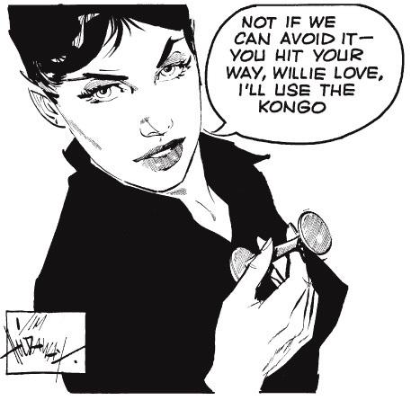 """Modesty Blaise vet hur man använder en """"kongo"""". ©Evening Standard"""