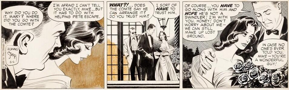 Original med motsvarande dagsstripp från 6 juni 1959. ©CTS