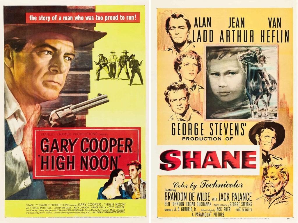 Filmaffisher för biofilmerna High Noon och Shane. ©UA/Paramount
