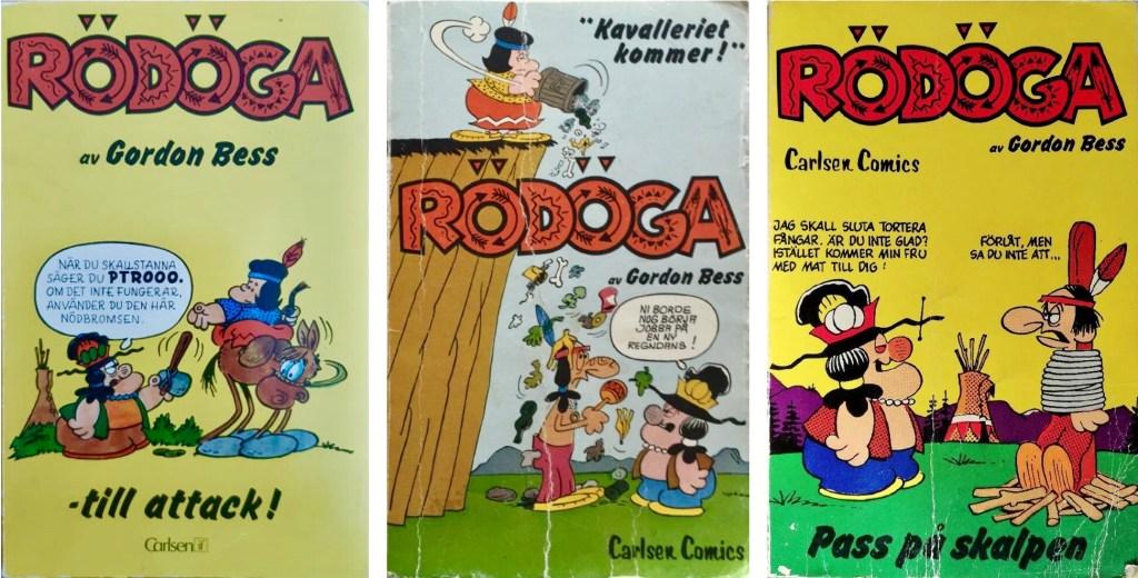 Omslag till seriepocketar med Rödöga (Redeye, 1976-78). ©Carlsen/Bulls