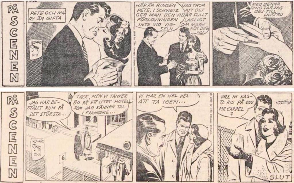 Sista dagsstripparna med På Scenen: Mary Perkins i DN från 4-5 maj 1960 (ursprungligen publicerade den 14-15 december 1959). ©PIB/CTS