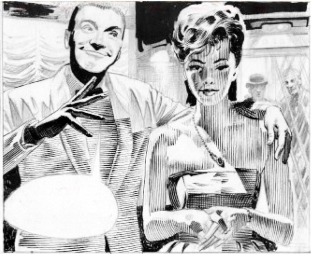 En provteckning av Modesty Blaise av Frank Hampson.