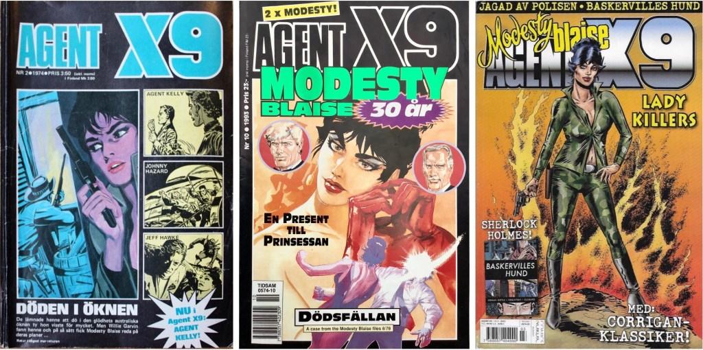 Omslag till Agent X9 nr 2, 1974, nr 10, 1993 och nr 3, 2013. ©Semic