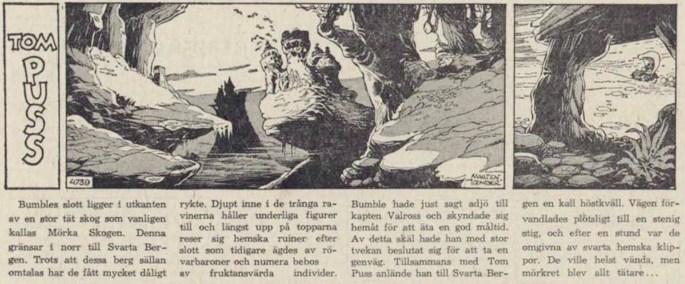 Dagsstripp nr 4739 (ursprungligen från 1962), ur DN 25 maj 1963, inleder det 101:a äventyret med Tom Puss. ©STA