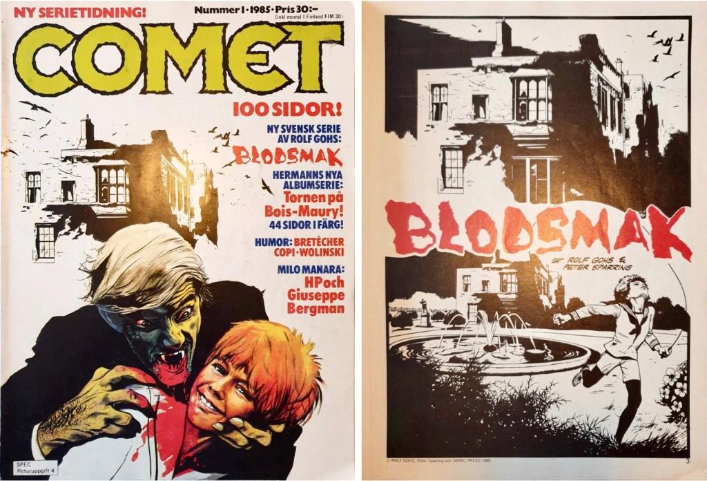 Omslag till Comet nr 1, 1985, och inledande sida till Blodsmak. ©Semic