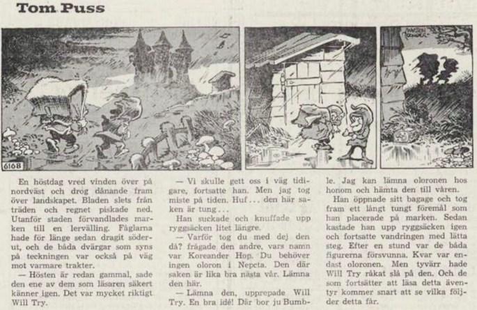Dagsstripp nr 6168 (ursprungligen från juli 1967), ur DN 14 februari 1968, inleder det 121:e äventyret med Tom Puss. ©STA