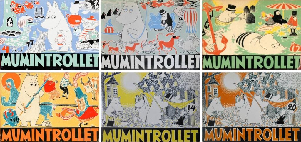 Några omslag ur albumserien Mumintrollet. ©Gebers