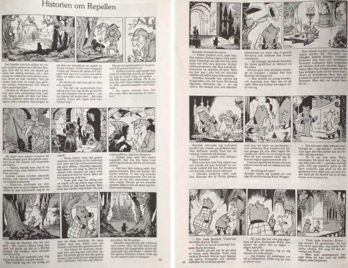 Inledande sidor av episoden Historien om repellen, ur Moderna fabler 1. ©Alvglans/STA