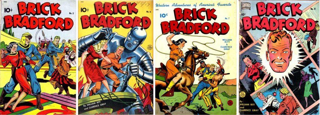 Omslag till Brick Bradford #5, #6, #7 och #8. ©Pines
