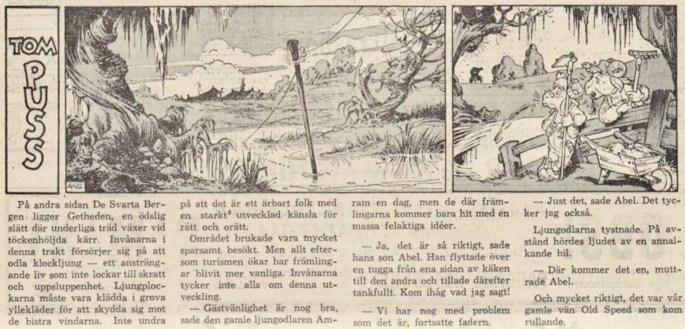 Dagsstripp nr 4421 (ursprungligen från 1961), ur DN 7 maj 1962, inleder det 96:e äventyret med Tom Puss. ©STA