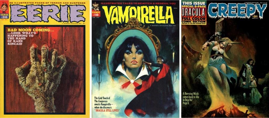 Omslag till Eerie #36 (1971), Vampirella #18 (1972) och Creepy #51 (1973), som alla innehåller serier av Maroto. ©Warren