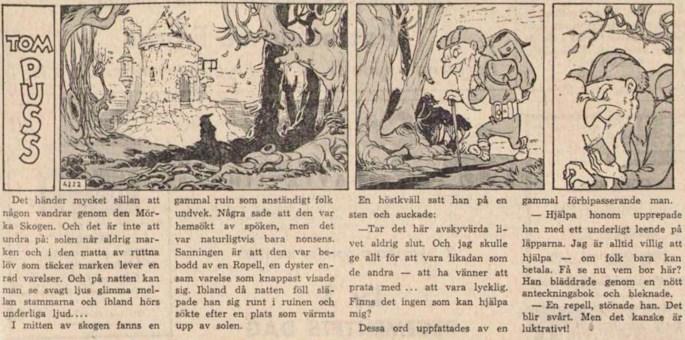Dagsstripp nr 4222 (ursprungligen från 1960), ur DN 7 september 1961, inleder det 93:e äventyret med Tom Puss. ©STA