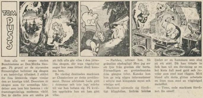 Dagsstripp nr 4543 (ursprungligen från mars 1962), ur DN 29 september 1962, inleder det 98:e äventyret med Tom Puss. ©STA