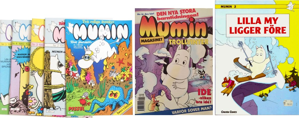 Omslag till några serietidningar Mumin och Muminmagasinet, och ett seriealbum. ©Albinsson&Sjöberg/Semic/Carlsen