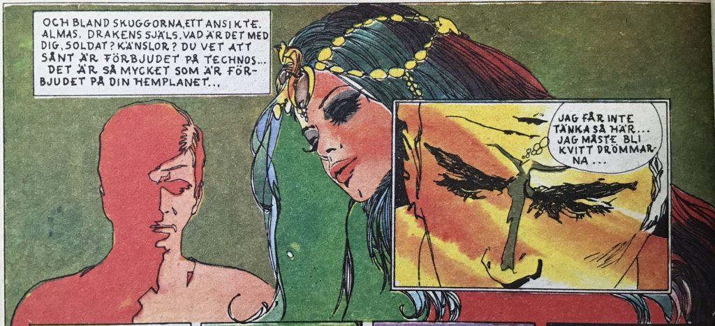 Ett par serierutor med Alma - Drakens själ, ur Comics nr 7. ©Carlsen/Doncel