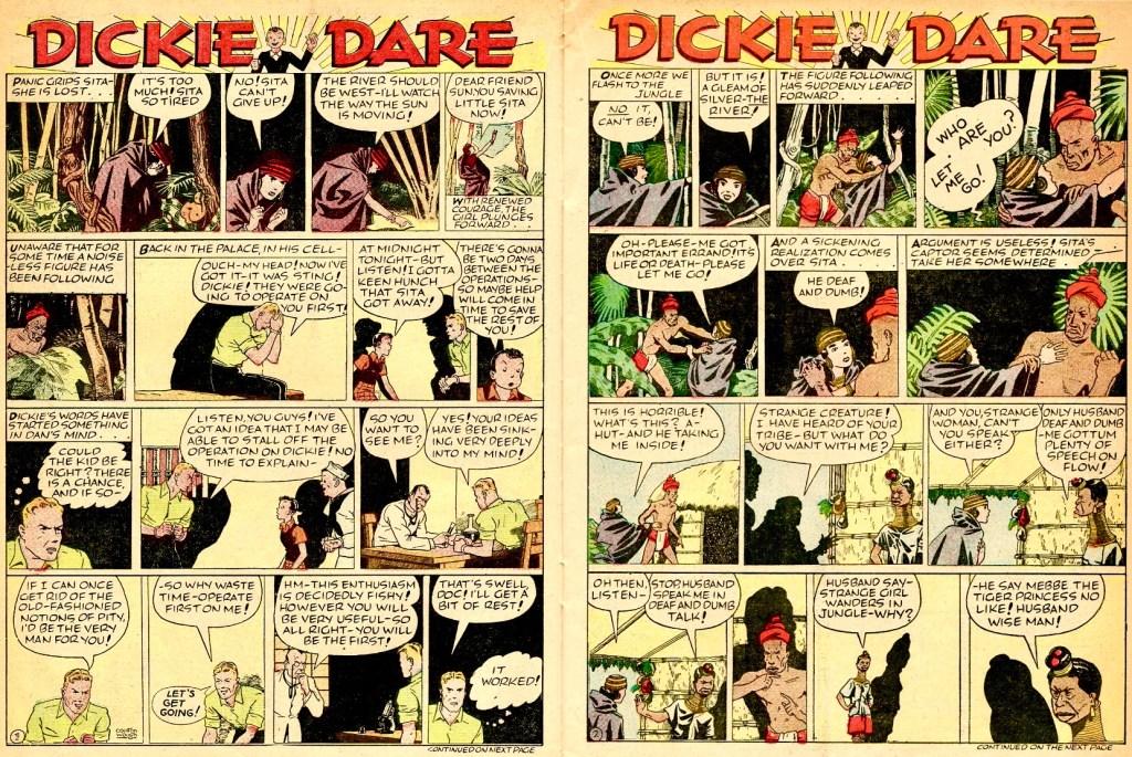 Ett uppslag ur Famous Funnies #48 (juli 1938). ©Eastern