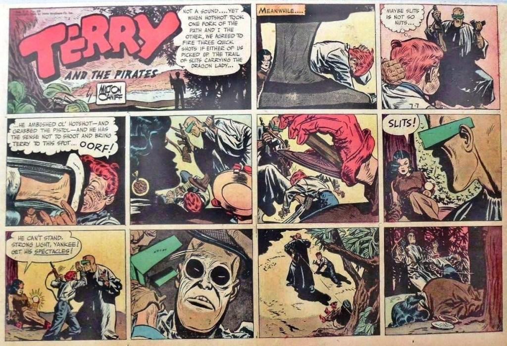 Söndagsstrippen från 7 juli1946 av Milton Caniff visar exempel på dramatisk användning av olika kameravinklar. ©CTNYN