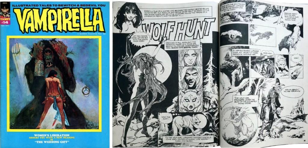 Omslag och inledande sidor med Wolf Hunt, ur Vampirella #14. ©Warren