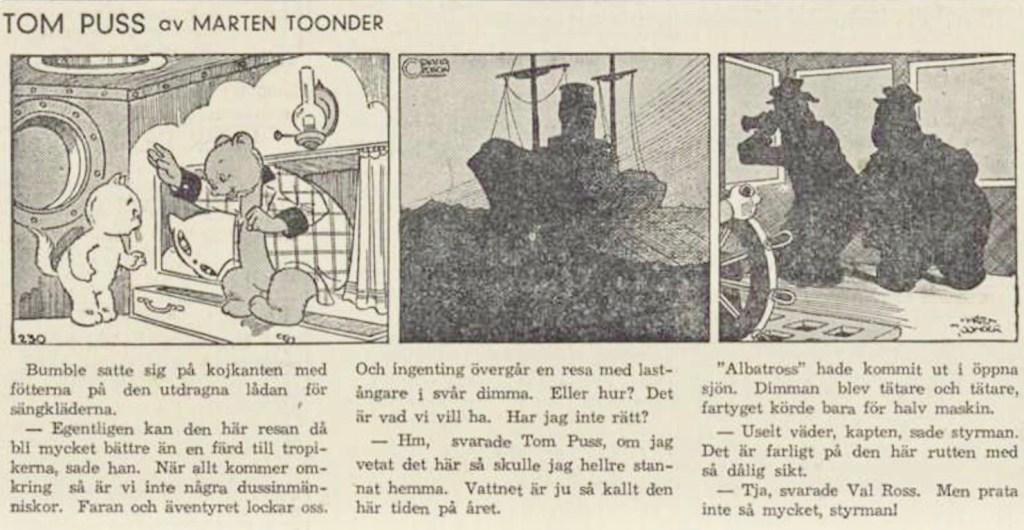 Införandet av Tom Puss i DN 23 februari 1946. ©STA
