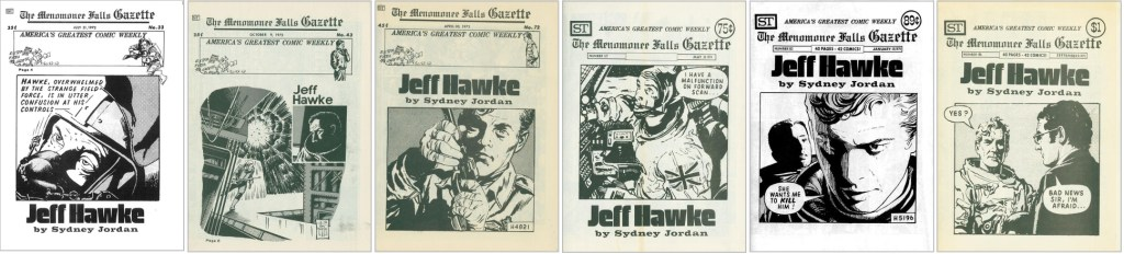 Jeff Hawke var ett stående inslag i Menomonee Falls Gazette, och förekom då och då även på omslaget. ©Street Enterprises
