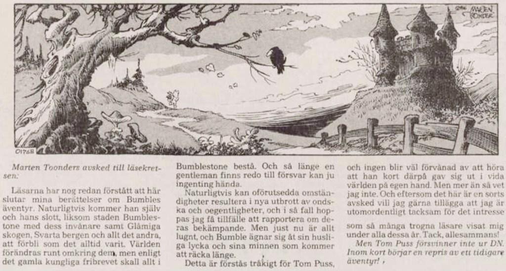 Sista dagsstrippen med Tom Puss, ur DN 26 februari 1986 (i original publicerad 20, januari). ©STA