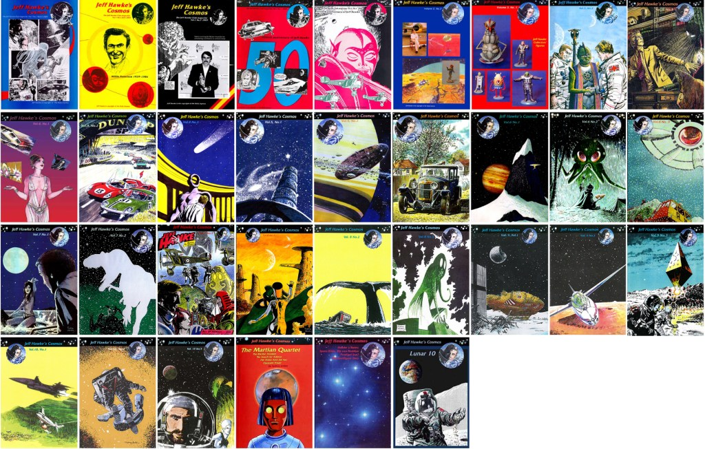 Jeff Hawke's Cosmos har utkommit i ett flertal utgåvor. ©Jeff Hawke Club