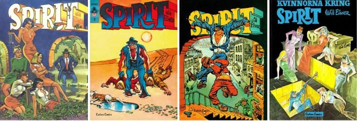 Omslag till fyra seriealbum med Spirit. ©Carlsen