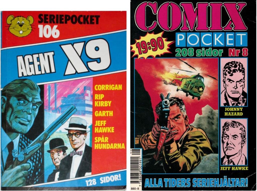 Ett par pocket med Jeff Hawke som en del av innehållet. ©Semic/Serieförlaget