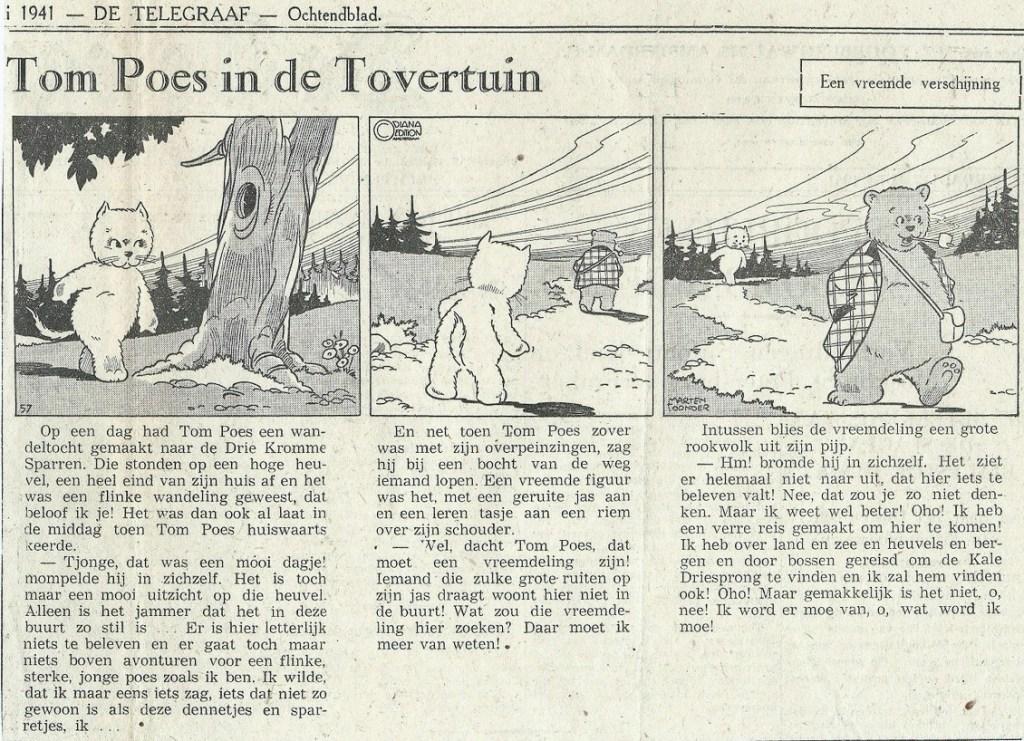 Dagsstripp nr 57, från 12 juli 1941, inleder episoden In de tovertuin (I den magiska trädgården) och introducerar Olivier B. Bommel. ©STA