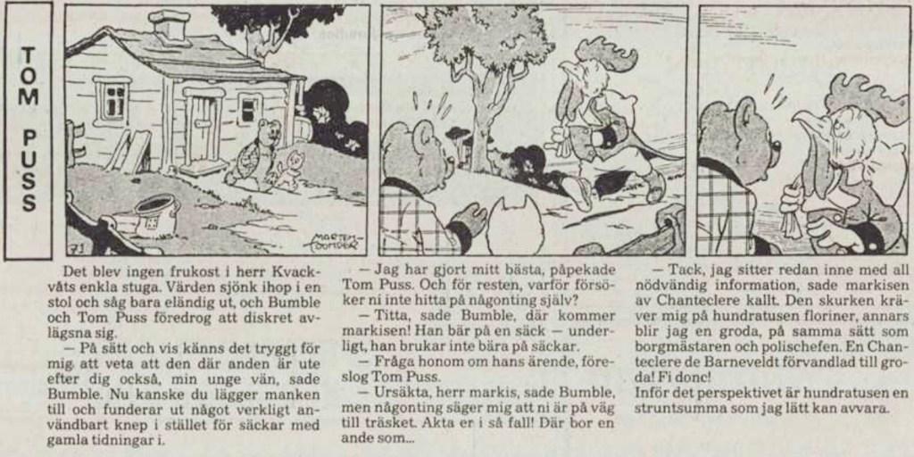 Motsvarande dagsstripp från 28 juni 1984. Notera att det är en ny översättning sedan 1948. ©STA