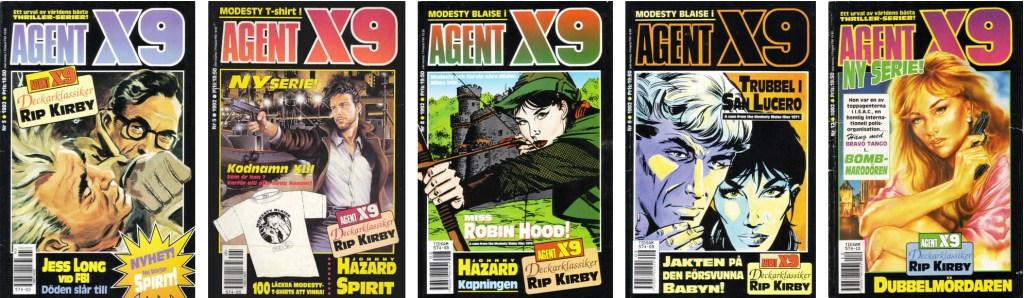 Omslag till Agent X9 nr 3, 5, 8-9 och 12, 1992. ©Semic