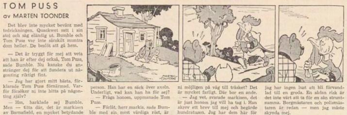 Dagsstripp nr 46, från det 25:e äventyret, där markisen förekommer för första gången. Strippen var publicerad på svenska i DN 16 februari 1948. ©STA