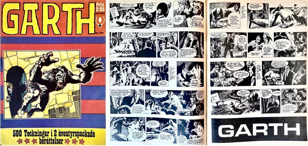 Omslag och ett uppslag till Garth (1974). ©RedClown/Daily Mirror