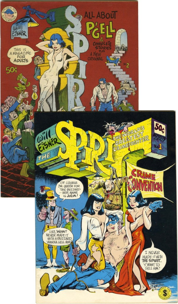 Omslag till The Spirit #1, The World's Greatest Crimefighter, och #2, All About P'Gell, båda med nya Eisner-omslag. ©Kitchen Sink
