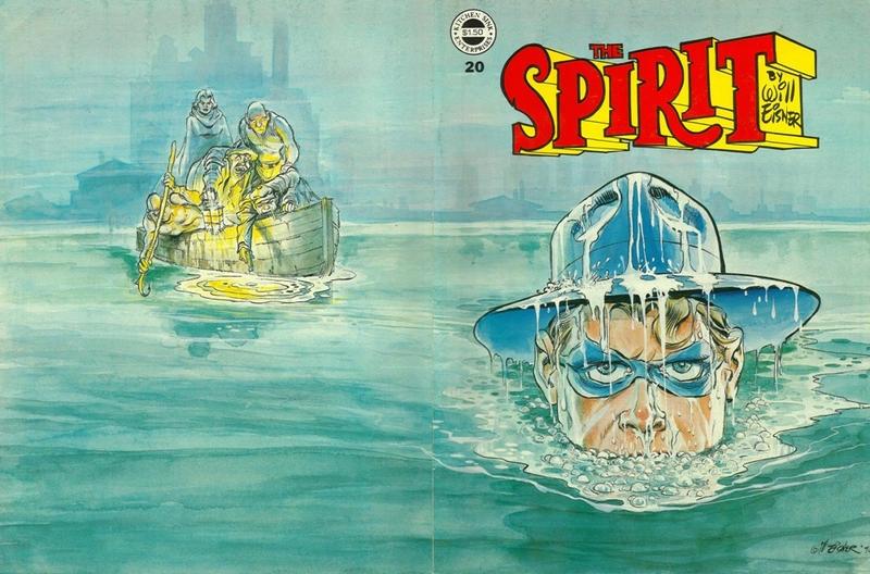 De flesta omslag var s.k. wraparound covers, som täckte både fram- och baksida, som här för The Spirit #20. ©Kitchen Sink