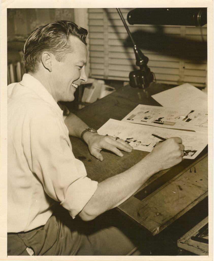 Vernon V. Greene vid ritbordet i sin hemmastudio, Wyckoff NJ, 29 februari 1956.