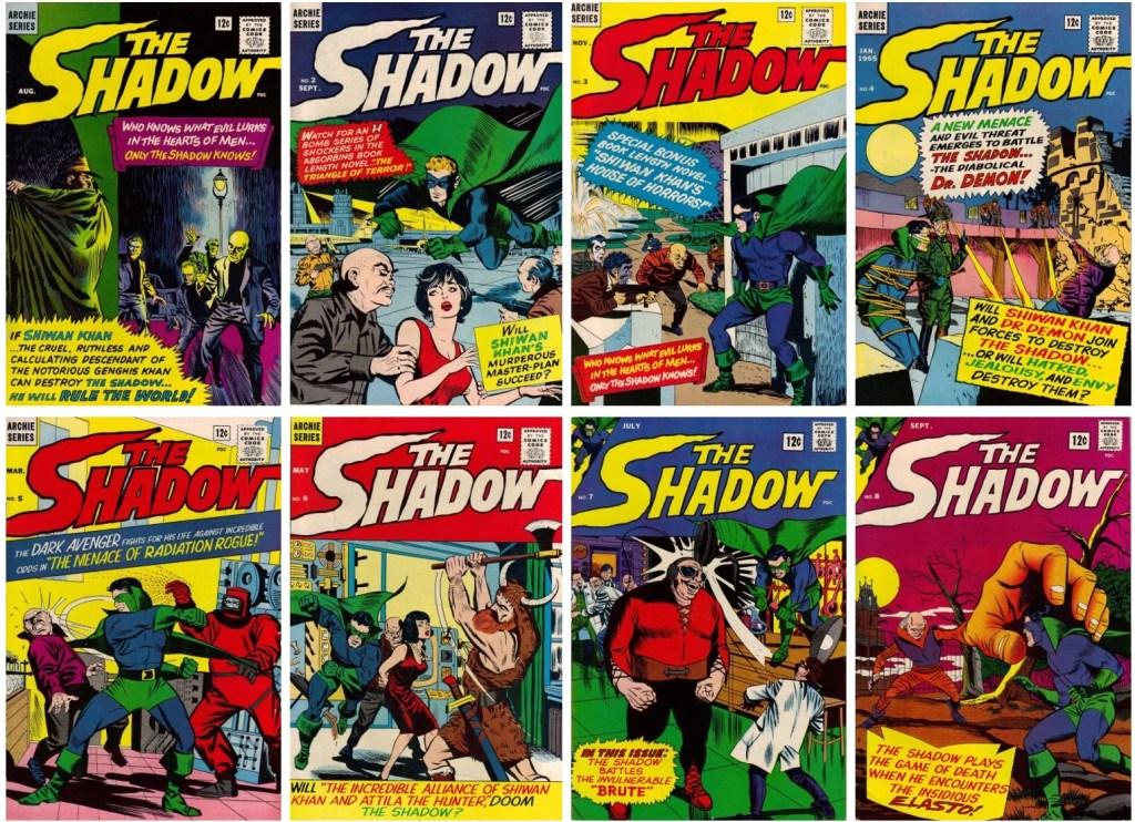 Omslag till de åtta numren av The Shadow (1964-65). ©Archie